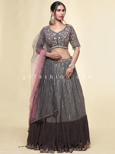 Latest grey georgette wedding wear lehenga choli