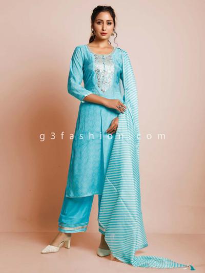 Latest aqua cotton festive wear pant suit