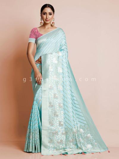 Latest aqua dola silk wedding wear saree