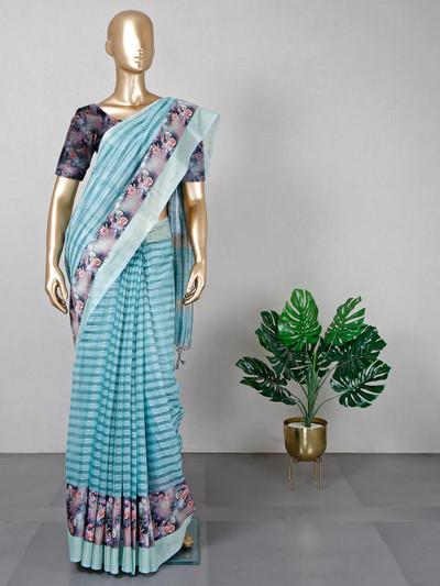 Latest aqua handloom cotton festive wear saree