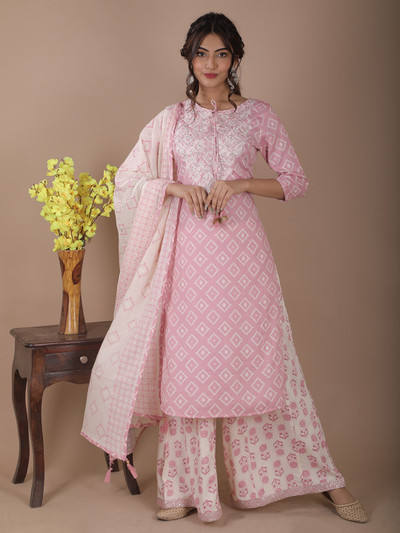 Latest baby pink printed festive events palazzo suit