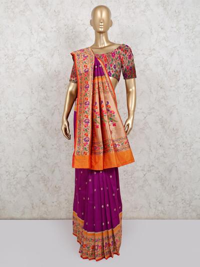 Latest banarasi silk saree in purple