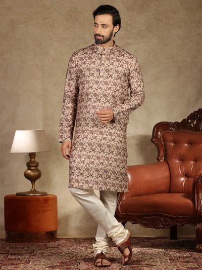 Latest beige cotton printed festive wear kurta suit