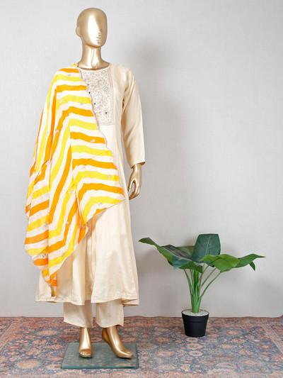 Latest beige cotton salwar suit for party