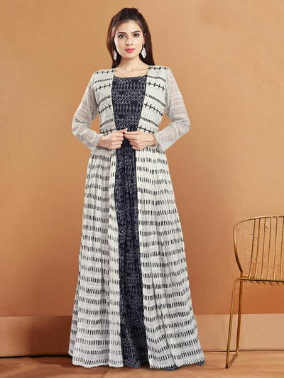 latest black and white cotton jacket style suits for festive