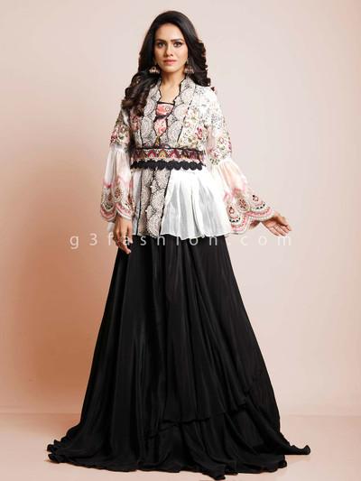 Latest black and white peplum style indowestern suit