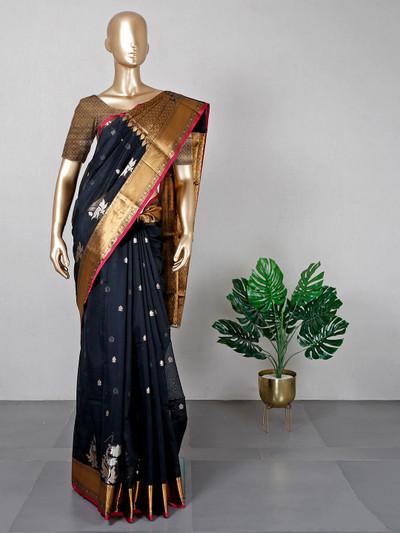 Latest black banarasi silk saree for festives