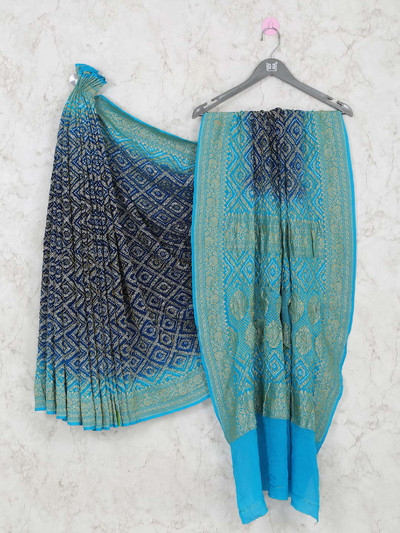 Latest blue bandhej festive wear saree
