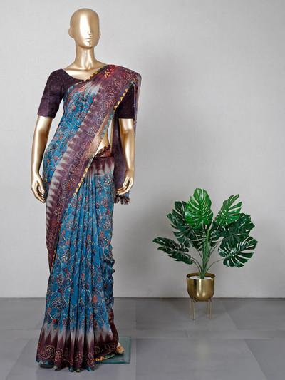 Latest blue cotton saree for festive wear