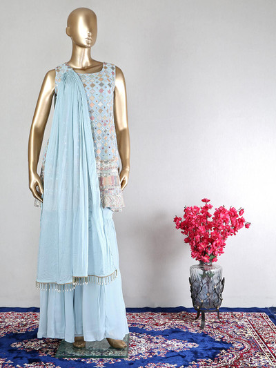Latest blue georgette sharara suit for women
