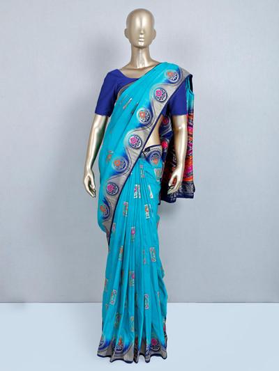 Latest blue muga silk saree for festive wear