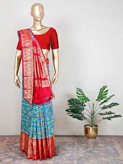 Latest blue patola silk saree for wedding functions