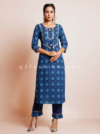 Latest blue printed suit for women in cotton
