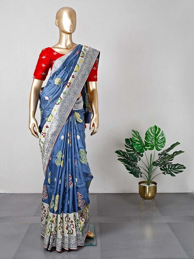 Latest blue satin silk saree for festival