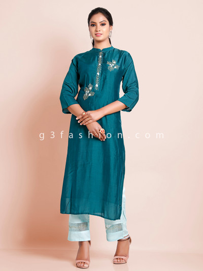 Latest bottle green solid festive ceremony punjabi style pant suit