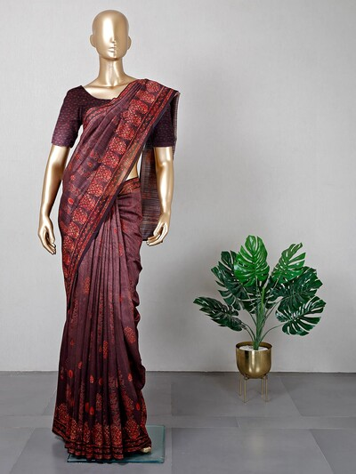 Latest brown colored cotton festive wear saree