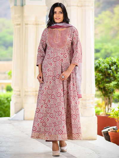 Latest cotton printed onion pink pant suit