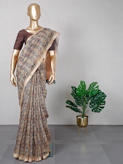 Latest cream designer cotton festive wear saree