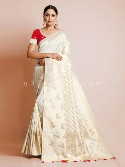 Latest cream dola silk wedding special saree