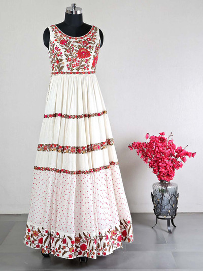 Latest cream georgette gown for party wear