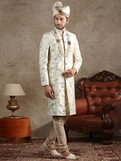 Latest cream raw silk fabric sherwani for wedding