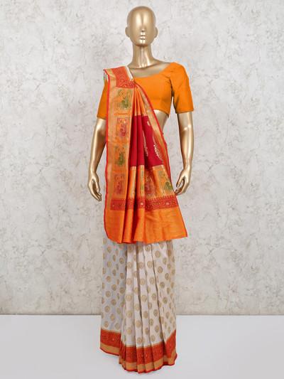 Latest cream silk wedding wear saree