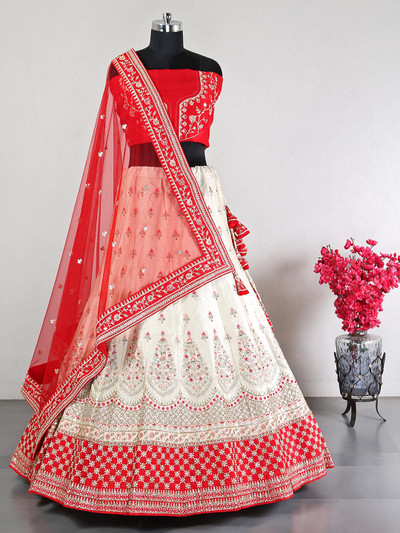 Latest cream wedding wear lehenga choli
