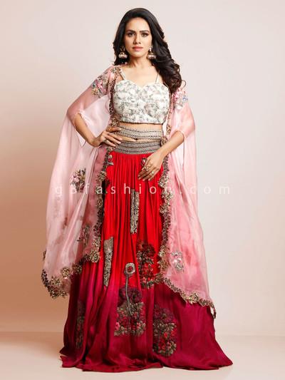 Latest deisgner red silk wedding wear lehenga choli
