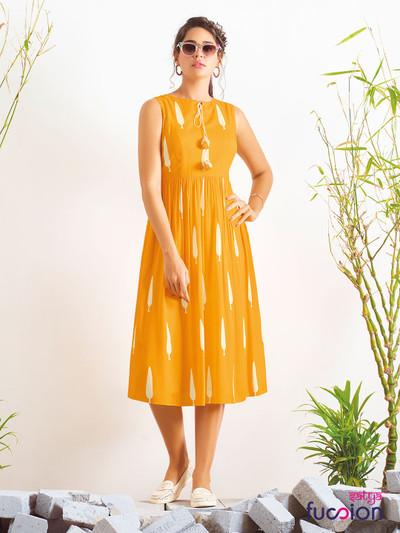 Latest designer casual printed cotton yellow kurti