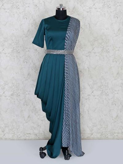 Latest designer indowestern satin bottle green salwar suit for festive parties