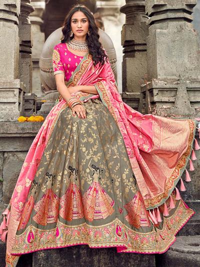 Latest designer pink and grey lehenga choli in banarasi silk
