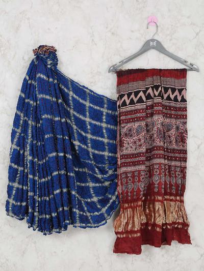 Latest designer royal blue bandhej festive wear saree