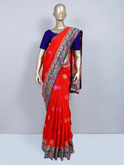Latest designer rust orange muga silk saree for festivals