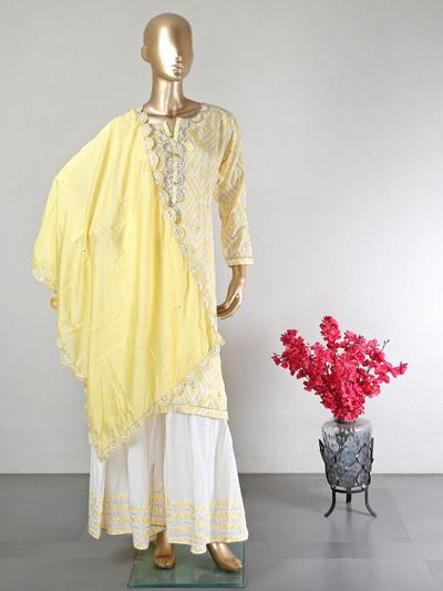 Latest designer yellow cotton party wear suit