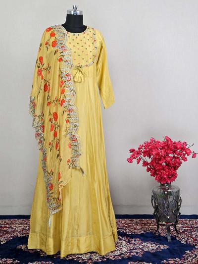 Latest designer yellow silk wedding salwar kameez for women