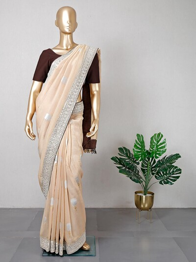 Latest festive wear cream cotton saree