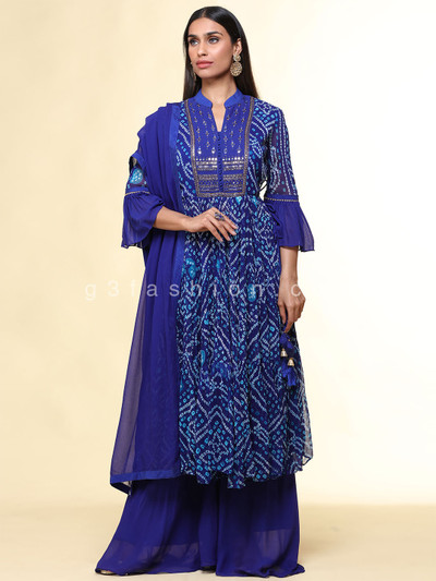 Latest festive wear navy blue georgette suit