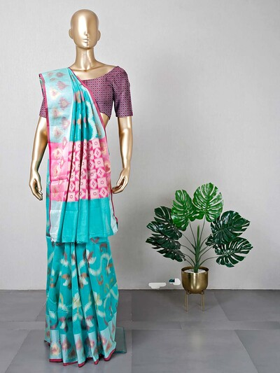 Latest festive wear sea green saree
