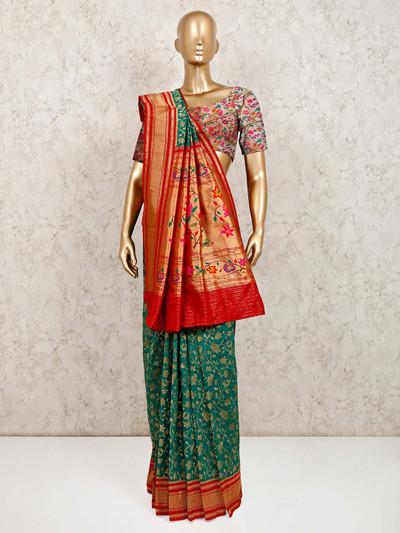 Latest green banarasi silk saree for wedding wear