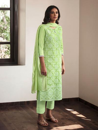 Latest green cotton festive wear casual wear pant suit