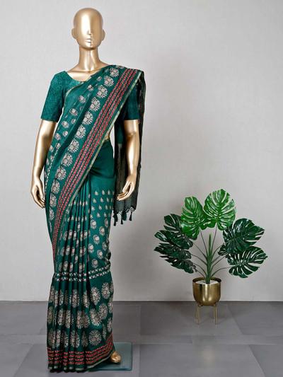 Latest green festive wear cotton saree