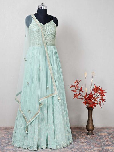 Latest green raw silk anarkali salwar kameez for wedding
