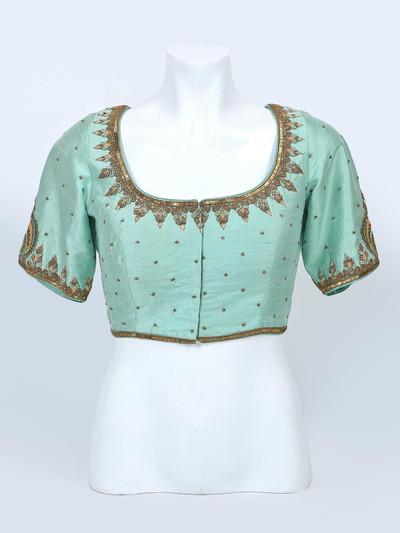 Latest green raw silk designer blouse