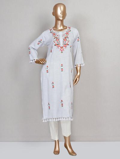 Latest grey cotton designer kurti