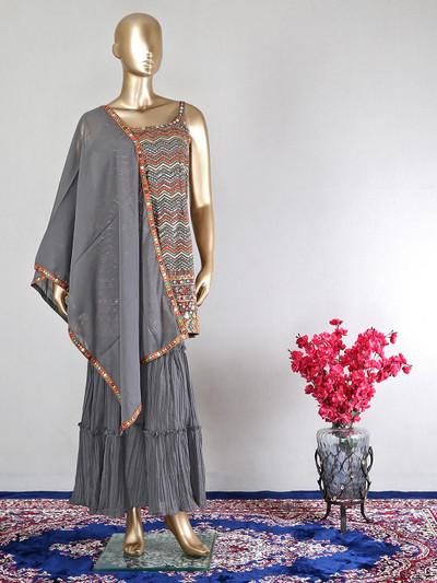Latest grey designer georgette wedding wear salwar kameez
