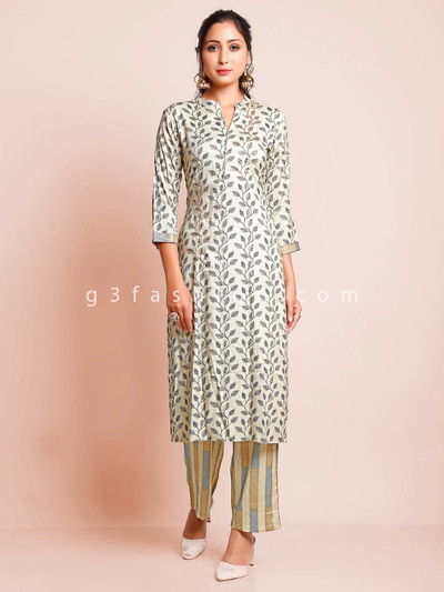 Latest light green pant suit for women