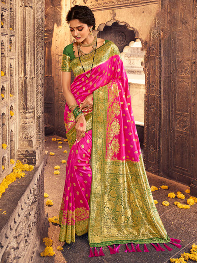 Latest magenta banarasi silk wedding ceremonies saree