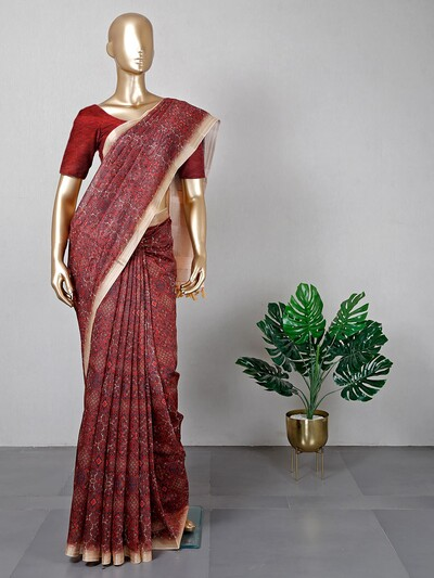 Latest maroon cotton printed saree
