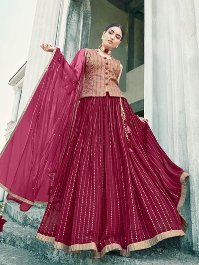 Latest maroon georgette wedding wear lehenga choli