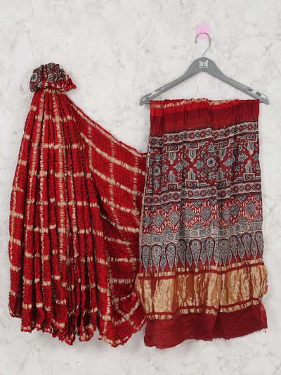 Latest maroon wedding wear bandhej saree with ajrakh pullu